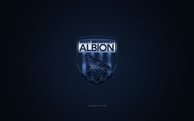 West Bromwich Albion FC, English football club, EFL Championship, blue logo, blue carbon fiber background, football, West Bromwich, West Bromwich Albion FC logo