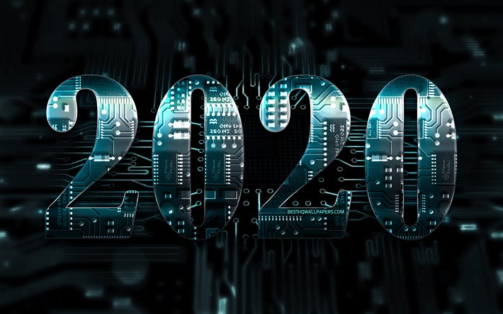 2020 blue 3D digits, chip, Happy New Year 2020, blue hi-tech background, 2020 neon art, 2020 concepts, blue chip digits, 2020 on blue background, 2020 year digits