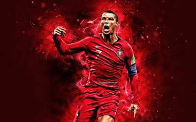 4k, Cristiano Ronaldo, 2019, joy, Portugal National Team, goal, soccer, CR7, Portuguese football team, Ronaldo, red neon lights, Cristiano Ronaldo dos Santos Aveiro