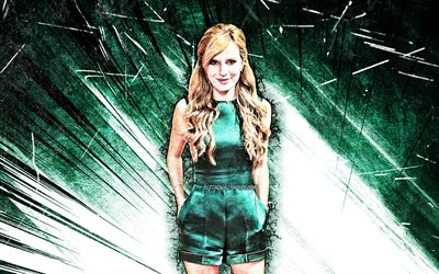 4k, Bella Thorne, grunge art, american actress, american celebrity, turquoise abstract rays, Annabella Avery Thorne, Bella Thorne 4K