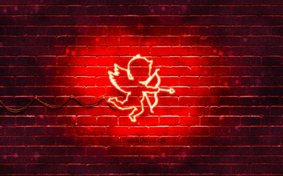 Cupid neon icon, 4k, red background, neon symbols, Cupid, neon icons, Cupid sign, love signs, Cupid icon, love icons, love concepts