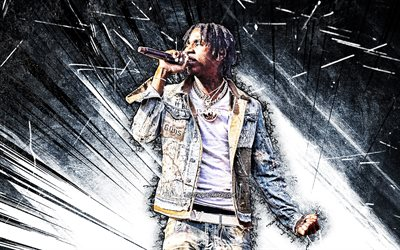 4k, Polo G, grunge art, american rapper, music stars, Polo G with microphone, blue abstract rays, Taurus Tremani Bartlett, american celebrity, Polo G 4K