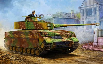 Panzer IV, artwork, German battle tank, WWII, armored vehicles, World war II, Wehrmacht