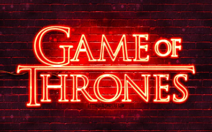 Game Of Thrones red logo, 4k, red brickwall, TV Series, Game Of Thrones logo, fashion Game Of Thrones neon logo, Game Of Thrones