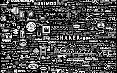 background with different car logos, retro car texture, car logos template, monochrome background with car logos, car brands background, car logos