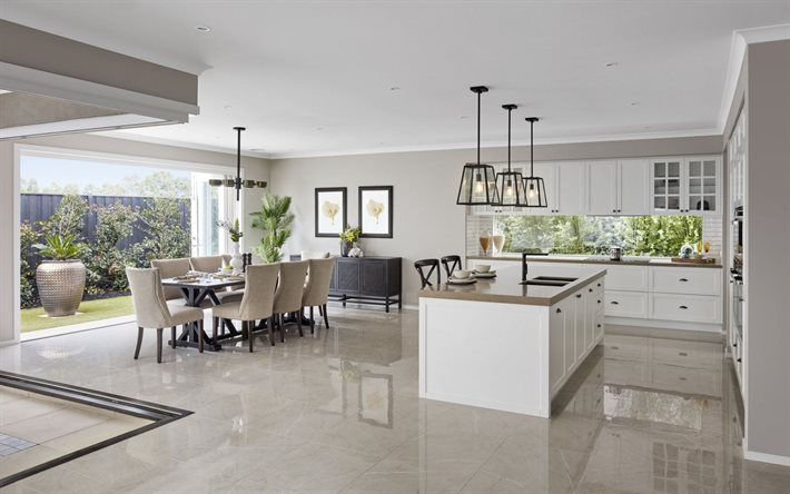 stylish interior design, dining room, white marble floor, white kitchen furniture, kitchen project, classic kitchen interior