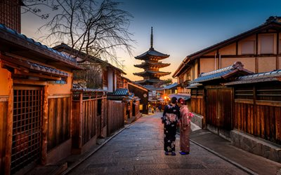 Kyoto, pagoda, evening, Japanese temple, sunset, Japanese traditional woman's dress, Kyoto cityscape, Japan
