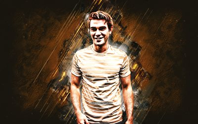 KJ Apa, new zealand actor, portrait, brown stone background, Keneti James Fitzgerald Apa
