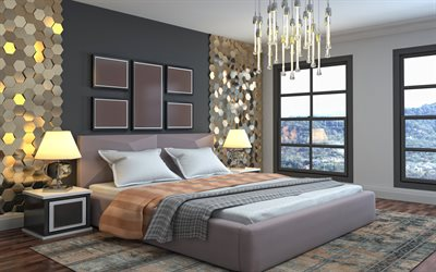 bedroom project, modern interior design, stylish interior design, bedroom, golden 3d elements on the wall, black wall in the bedroom