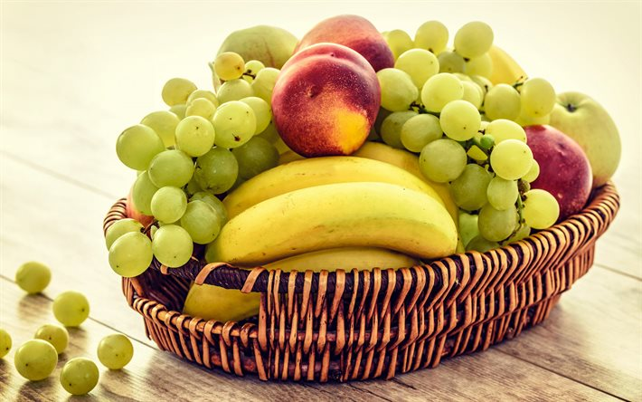 fruit basket, bananas, grapes, peaches, vitamins, ripe fruits