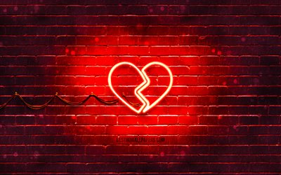 Broken Heart neon icon, 4k, red background, neon symbols, Broken Heart, neon icons, Broken Heart sign, love signs, Broken Heart icon, love icons, love concepts