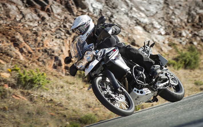 4k, Triumph Tiger 800, road, 2018 bikes, adventure-bike, rider, superbikes, Triumph