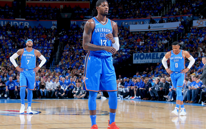 4k, Paul George, 2017, NBA, basketball players, Oklahoma City Thunder,