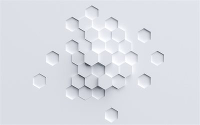white 3d polygons background, geometric abstraction, white background, 3d honeycomb, white honeycomb background