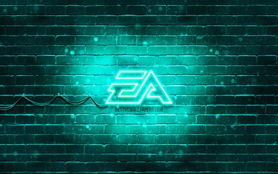 EA Games turkos logo, 4k, turkos brickwall, EA Games logotyp, Electronic Arts, kreativa, EA-Spel neon logotyp, EA Games