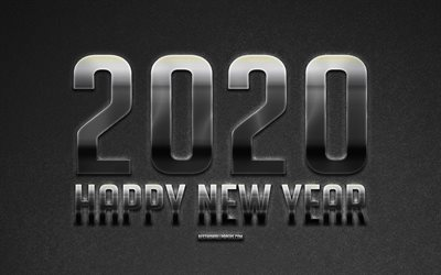 Happy New Year 2020, silver metal art, Metal 2020 background, 2020 silver background, creative art, gray background, 2020 concepts