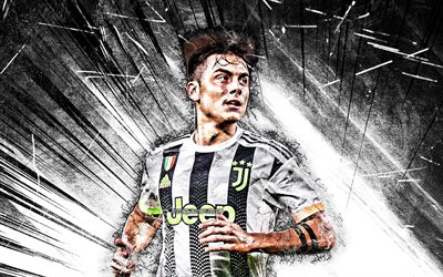 Paulo Dybala, 2019, Juventus FC, Bianconeri, grunge art, football stars, argentinian footballers, Italy, Juve, Dybala, soccer, black abstract rays, Serie A