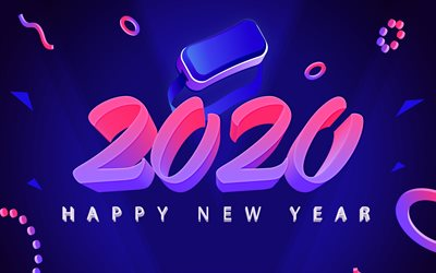 Happy New Year 2020, 3d art, Blue 2020 background, pink 3d letters, 2020 concepts, 2020 New Year