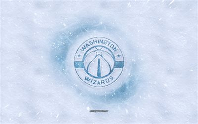 Washington Wizards logo, American basketball club, winter concepts, NBA, Washington Wizards ice logo, snow texture, Washington, USA, snow background, Washington Wizards, basketball