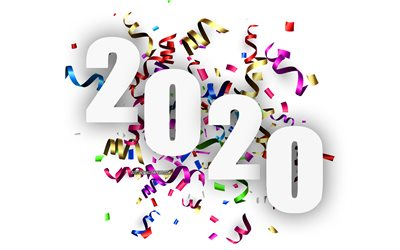 Happy New Year 2020, colored silk ribbons, 2020 concepts, 2020 white background, 2020 New Year, background with ribbons
