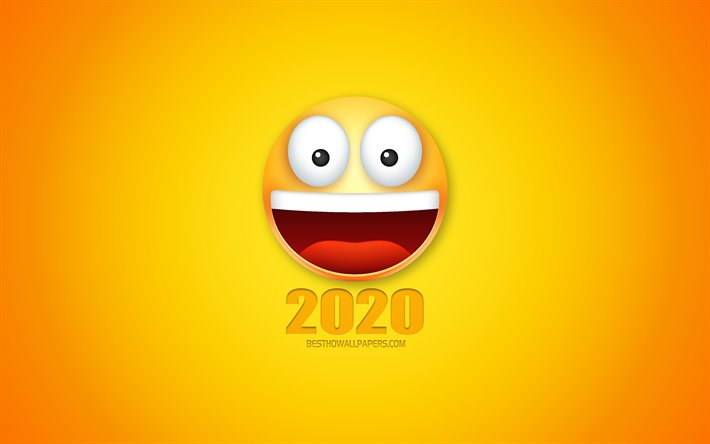 2020 funny art, Happy New Year 2020, 3d smile, emotions, 2020 concepts, yellow background, creative 2020 art
