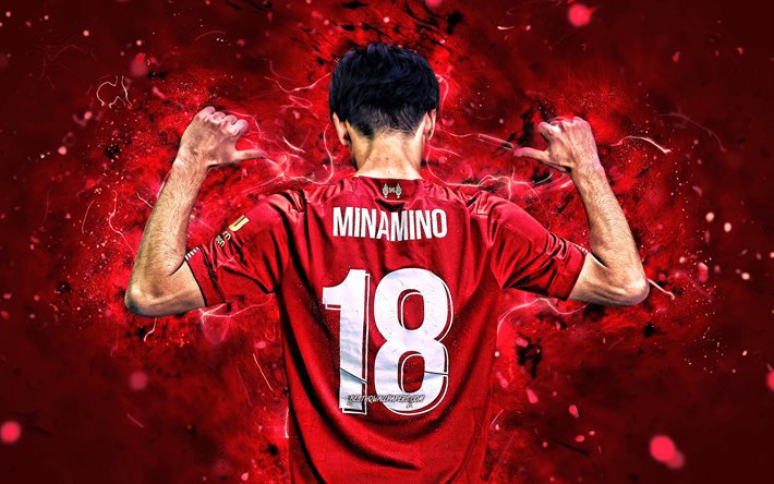 Download Wallpapers 4k Takumi Minamino 2019 Back View Soccer Liverpool Fc Japanese Footballers Minamino Premier League Lfc Football Neon Lights England Takumi Minamino Liverpool For Desktop Free Pictures For Desktop Free