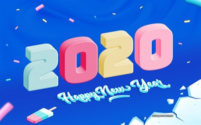 2020 3d background, Happy New Year 2020, blue background, 3d letters, winter, ice, 2020 concepts, 2020 New Year
