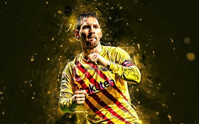 Lionel Messi, 2019, jaune uniforme, du FC Barcelone, l'argentin footballeurs, close-up, FCB, Leo Messi, les stars du football, La Liga, Messi, LaLiga, le football, l'Espagne, les néons, le Barca