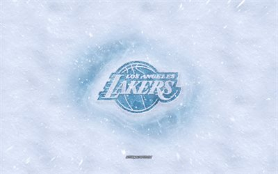 Los Angeles Lakers logo, Americano de basquete clube, inverno conceitos, NBA, Los Angeles Lakers de gelo logotipo, neve textura, Los Angeles, Califórnia, EUA, neve de fundo, Los Angeles Lakers, basquete