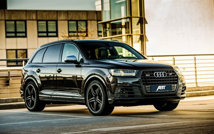 download wallpapers audi sq7 2016 black q7 abt tuning audi crossover tuning q7 for desktop. Black Bedroom Furniture Sets. Home Design Ideas