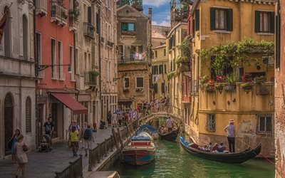 Canal Rio de San Provolo, Venice, Italy, ancient architecture, boats, tourists