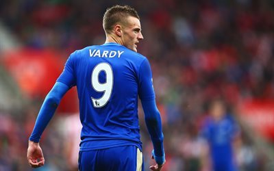 Jamie Vardy, 4k, match, Leicester City, footballers