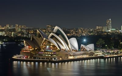 Sydney, 4k, Opera House, panorama, night, Australia