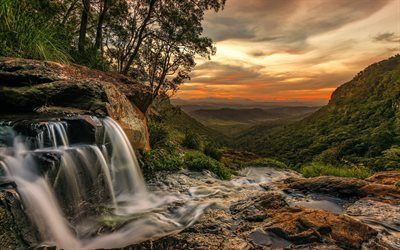waterfall, sunset, mountains, forest, valley, mountain river