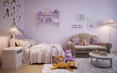 interior for a childrens room, modern design, childrens bedroom for a girl, modern interior, pink bedroom