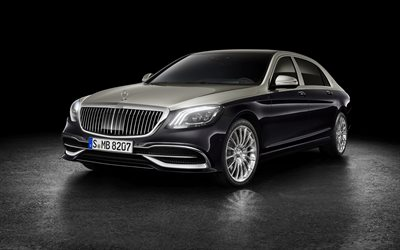 Mercedes-Maybach S560, 4k, 2018 cars, luxury cars, headlights, Maybach, Mercedes