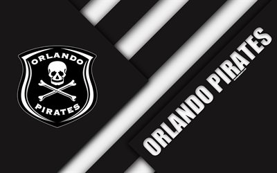 Orlando Pirates FC, 4k, South African Football Club, logo, black and white abstraction, material design, Johannesburg, South Africa, Premier Soccer League, football