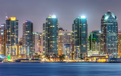San Diego, 4k, modern buildings, cityscapes, nightscapes, USA, America