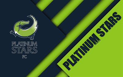 Platinum Stars FC, 4k, South African Football Club, logo, blue green abstraction, material design, Rustenburg, South Africa, Premier Soccer League, football