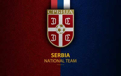 Serbia national football team, 4k, leather texture, coat of arms, emblem, logo, football, Serbia
