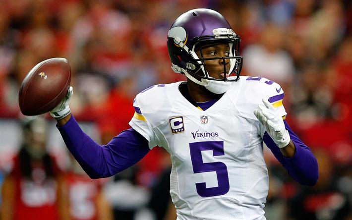 Teddy Bridgewater, 4k, quarterback, american football, Minnesota Vikings, NFL