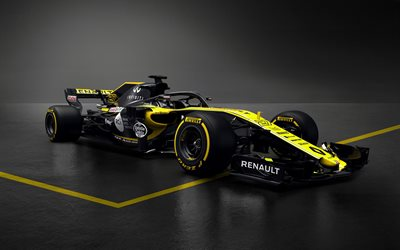 Renault RS18, 2018, Formula 1, new cockpit protection, race cars 2018, F1, protection, Renault