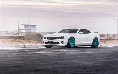 Chevrolet Camaro, 2017, MRR Wheels, white sports coupe, tuning Camaro, American sports cars, blue wheels, Chevrolet