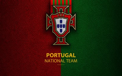 Portugal national football team, 4k, leather texture, coat of arms, emblem, logo, football, Portugal