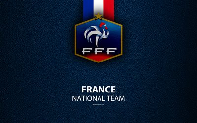 France national football team, 4k, leather texture, coat of arms, emblem, logo, football, France