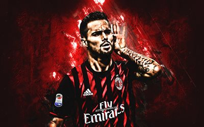 Suso, red stone, AC Milan, close-up, soccer, Serie A, spanish footballers, grunge, Milan FC, creative, Italy