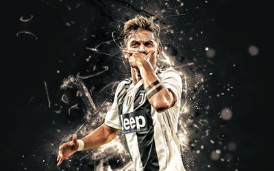 Dybala, close-up, Bianconeri, Juventus FC, goal, football stars, argentinian footballers, soccer, Serie A, Italy, Juve, Paulo Dybala, neon lights