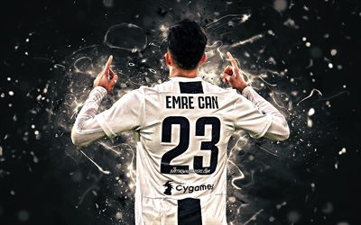 Emre Can, back view, Juventus FC, german footballers, goal, soccer, Serie A, Can, neon lights, Bianconeri, Italy, JUVE