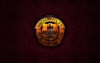 Motherwell FC, Scottish football club, maroon metal texture, metal logo, emblem, Motherwell, Scotland, Scottish Premiership, creative art, football