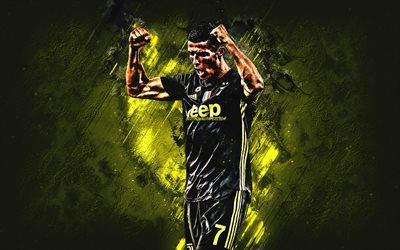 Cristiano Ronaldo, Juventus FC, forward, joy, yellow stone, portrait, famous footballers, football, Portuguese footballers, CR7, world football star, grunge, Serie A, Italy, Ronaldo